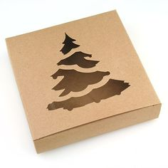 Brown Kraft Box with Christmas Tree Window