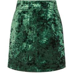 Sandro Velvet Mini Skirt ($200) ❤ liked on Polyvore featuring skirts, mini skirts, wet look skirt, green mini skirt, short skirts, velvet skirt and textured skirt