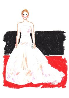 Jennifer Lawrence in Christian Dior Haute Couture.  AnOther's illustrated red carpet by Damien Florebert Cuypers.