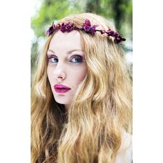 Beauxoxo Burgundy Butterfly Crown ($32) ❤ liked on Polyvore featuring accessories, hair accessories, red, red hair accessories, floral crown, flower garland, floral garland and red flower crown