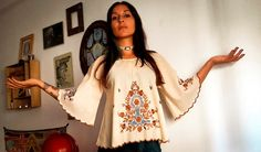 Vintage 70s Embroidered Blouse Tunic with by IndianYepaVintage