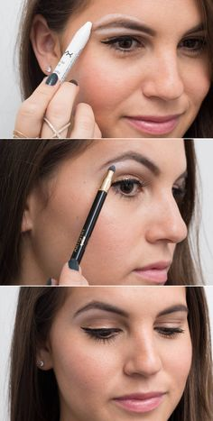 /Use white eyeliner as a brow highlighter for an instant eye lift. Line below and above your eyebrows with a thick white liner, and smudge it out with a sponge brush to define your brows.