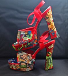 Sexy Decoupaged Justice League High Heel Bright Red Open-Toe Sandals in Women's size 9 by BrigaBauble, $70.00