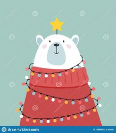 Illustration Of A Polar Bear With A Sweater, Lights And Star Like A Christmas Tree Stock Vector - Illustration of sweater, neck: 159427872 - Barbara Günther - Christmas Doodles, Merry Christmas Greetings, Christmas Cartoons, Christmas Drawing, Christmas Greeting Cards, Cartoon Christmas Tree, Merry Xmas, Polar Bear Illustration, Illustration Noel