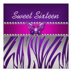Sweet 16 Purple Pink Zebra Silver Butterfly Invitation