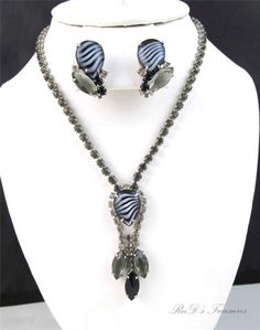 Vintage Smokey Grey & ART GLASS Rhinestone Necklace & Clip On Earrings SET