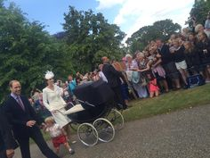 Duchess News Files on Twitter:  Christening of Princess Charlotte of Cambridge, July 5, 2015-Duke and Duchess of Cambridge with Prince George and Princess Charlotte and some of the more than 1,000 well-wishers outside St. Mary Magdalene Church