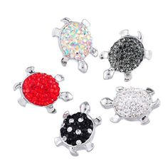 3PCs Mixed Round Snap Bouton Bijoux Rose Strass Charms Fit Snap Bracelet