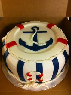 Sailor Cake on Cake Central Cake Central, Pretty Cakes, Beautiful Cakes, Amazing Cakes, Cupcakes, Cupcake Cakes, Sailor Cake, Navy Cakes, Cake Art