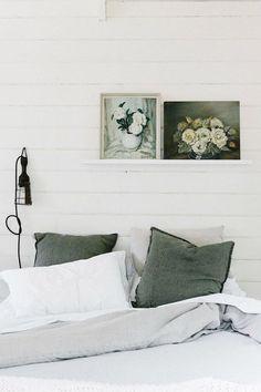Floral paintings on shiplap bedroom wall Home Decor Bedroom, Bedroom Wall, Bedroom Furniture, Master Bedroom, Garden Bedroom, Bedroom Ideas, Bedroom Simple, Gray Bedroom, Sage Green Bedroom