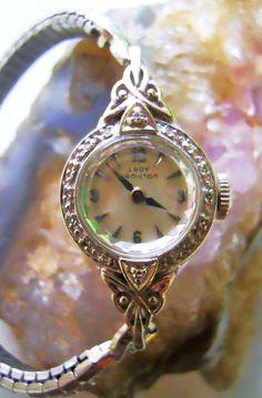 Vintage Lady Hamilton 14k and Diamond Watch