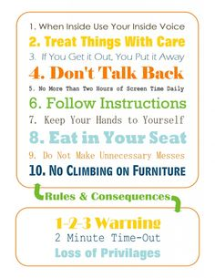 House rules for preschoolers. Great printable!