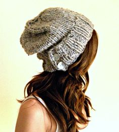 Woman's knit slouchy hat - Grey Gray Marble unisex. $35.00, via Etsy.