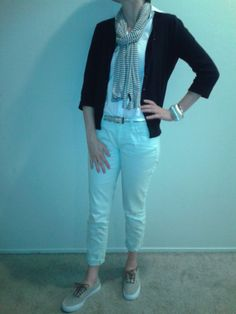 W6Aug14--Navy 3/4 sleeve cardi (Talbots) over white blouse over mint ankle denim (LOFT) with blue and white oblong scarf (Talbots), long sterling silver necklace (Talbots), silver metallic belt (Ann), chunky silver tone bracelet (LOFT), sterling silver bangles (Talbots) and canvas and leather Vans.
