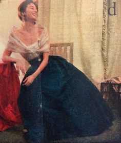 Hubert de Givenchy- 1952 White organza off shoulder blouse with a large draped blue silk skirt. Elle- Les Collections Printemps 1952- No.327- March 3, 1952.