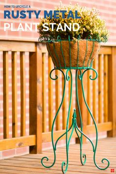 Have a rusty old plant stand? Give it a vibrant new outlook with Rust-Oleum Stops Rust. This rich gloss jade pops on any porch, patio or deck! Apply it to indoor or outdoor planters, pots, plant stand Resin Wicker Patio Furniture, Metal Furniture, Outdoor Garden Decor, Outdoor Planters, Metal Planters, Metal Plant Stand, Plant Stands, Painting Rusty Metal, Garden Projects