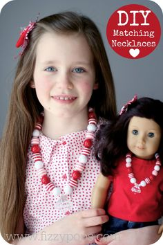 Matching Dolly and Me Valentine Bling Necklaces. Visit www.fizzypops.com for tutorial and supplies.