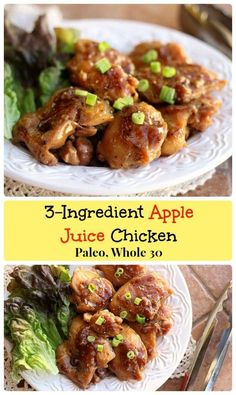Apple Juice Chicken - organic apple juice reduces down to create a thick, syrupy sauce for the chicken thighs. Tastes like teriyaki, only healthier! Apple Juice Chicken Recipe, Apple Chicken, Entree Recipes, Paleo Recipes, Cooking Recipes, Dinner Recipes, Dinner Ideas, Food Dishes, Main Dishes