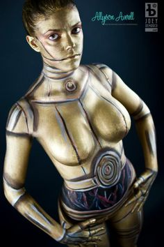 Star Wars 3CP0 cosplay body paint
