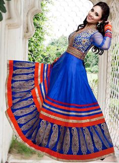 Bright blue and red floor length anarkali