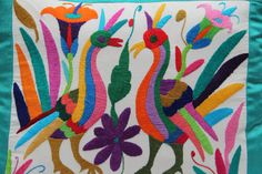 TEAL and multi colored Summer Silk and Otomi Pillow by CasaOtomi