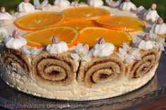 Prieteni buni, va doresc din tot sufletul ca Sfintele Pasti sa va gaseasca in liniste si bucurie, alaturi de ai vostri dragi!!! Va servesc repede, repede (cuptorul meu e-n flacari 😛 ) cu o feliuta proaspata din tortul acesta minunat cu rulada si crema de iaurt si portocale, tort care va sta pe masa noastra … Camembert Cheese, Yogurt, Orange, Cakes, Food, Cake Makers, Kuchen, Essen, Cake