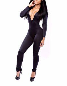 Aliexpress.com: Comprar 6021 V profundo negro mujeres Ladies mono atractivo del…