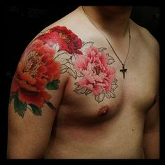 Chronic Ink Tattoo, Toronto Tattoo - Peony chest to 1/4 sleeve in progress by Master Ma.