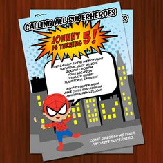 Super Hero Spiderman Inspired Birthday Invitation