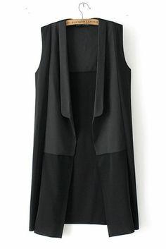 Black Sleeveless Extra Long Silky Chiffon Vest