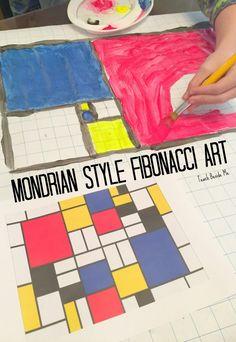 art projects Mondrian Style Fibonacci Art project for kids- art and math combo for hands-on STEM / STEAM via karyntripp Math Projects, Projects For Kids, Art Education Projects, Mondrian Kunst, Steam Art, Stem Steam, Art Lessons For Kids, Science Lessons, Math Art
