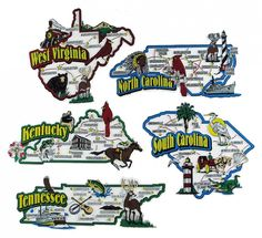 Ky Nc Sc Tn Wva Large Colorful Usa Souvenir Map State Magnets