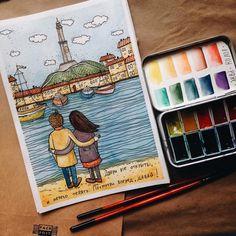 . Pictures To Draw, Art Pictures, Watercolor Drawing, Watercolor Paintings, Sea Art, Cartoon Wallpaper, Beautiful Paintings, Spirit Animal, Easy Drawings
