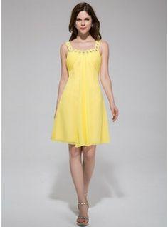 For Bridesmaids Empire Scoop Neck Knee-Length Chiffon Dress With Ruffle Beading (022027063) - JJsHouse
