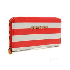 Believe Jet Set Striped Zip Small Red white Wallets, And It Must Give You The Best Quality And Service!