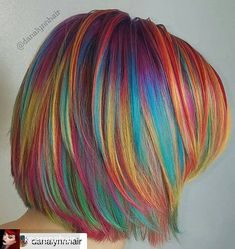 Rainbow hair love it ! Beautiful Hair Color, Cool Hair Color, Cabelo Ombre Hair, Pelo Multicolor, Hair Dye Colors, Funky Hair Colors, Fantasy Hair, Fantasy Makeup, Unicorn Hair