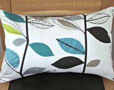 Lumbar pillows teal blue lime green gray grey leaf design cushion shams UK designer fabric 12 x 18 inch handmade