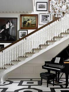 picture arrangements, piano, stairway, melani turner, foyer, hous, design, wall galleries, painted floors