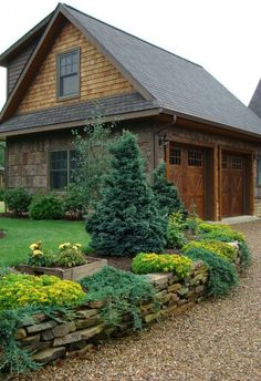 The Farm Garage - traditional - garage and shed - charlotte - Abby Design and Construction Driveway Landscaping, Country Landscaping, Gravel Driveway, Landscaping Ideas, Rock Driveway, Driveway Design, Driveway Ideas, Pebble Driveway, Driveway Border
