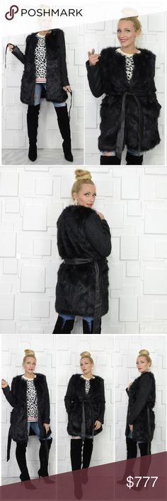 BLACK FAUX FUR COAT Brand New! Price is firm, Offers NOT accepted  Grab this Chic, timeless & ever so glamorous warm faux fur coat for your wardrobe! This coat features faux fur front & black while arms are made of chic textured material as seen in pics & a faux leather belt. Wear opened or belted closed. This timeless coat will be a staple for your fall/winter wardrobe for years to come!  *ALSO AVAILABLE IN CREAM* *Animal print top available in my Boutique*  Material 100% polyester Modeled…