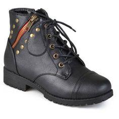 Brinley Kids Big Girls Zipper Studded Boots, Girl's, Size: 12, Black
