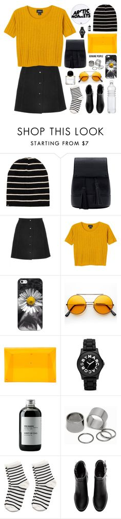"""mustard kisses"" by jesicacecillia ❤ liked on Polyvore featuring Monki, Casetify, 202 Factory, Marc by Marc Jacobs, Sort of Coal, Pieces, H&M, Byredo and Genuine_People"