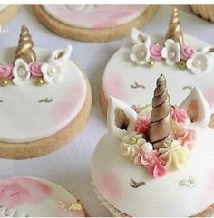 Unicorn Cupcakes, Unicorn Birthday, Sugar, Cookies, Creative, Desserts, Ideas, Food, Pies