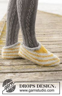 Knitted and felted slippers with stripes in DROPS Eskimo. Felted Slippers Pattern, Knitted Socks Free Pattern, Knitting Patterns Free, Free Knitting, Knitting Socks, Crochet Patterns, Drops Design, Magazine Drops, Cast Off