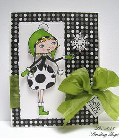 Card made by Lin for the Simon Says Black and White and a Splash of Color Challenge January 2013