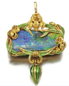 Gold, enamel and black opal pendant by Marcus & Co., circa 1900.