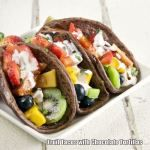 Fruit tacos with chocolate tortillas. Must make someday!