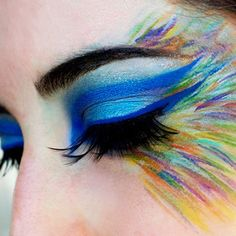 An exploration in strokes. Mostly used Kryolan's Aqua Colors with Make Up For Ever's beautiful feather lashes. | Need more Halloween makeup ideas? Follow us here --> http://www.pinterest.com/thevioletvixen/halloween-makeup-insanity/