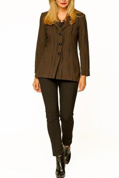 Riding style jacket in a beautiful chocolate brown color with front buttons in a very soft, lightweight fabric by Cheryl Nash. Impala Riding Jacket  by Cheryl Nash. Clothing - Jackets, Coats & Blazers - Jackets Columbia, South Carolina