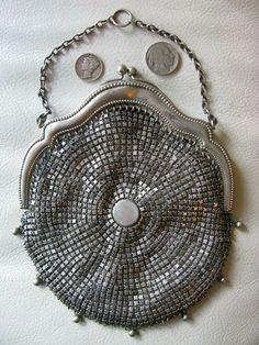 Antique Art Deco Silver T Cobalt Blue Jewel Frame Fancy Chevron Chain Mail Purse Bags, Handbags & Cases Periods & Styles